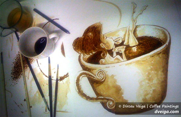 Girl in Coffee Paint by Dirceu Vegia