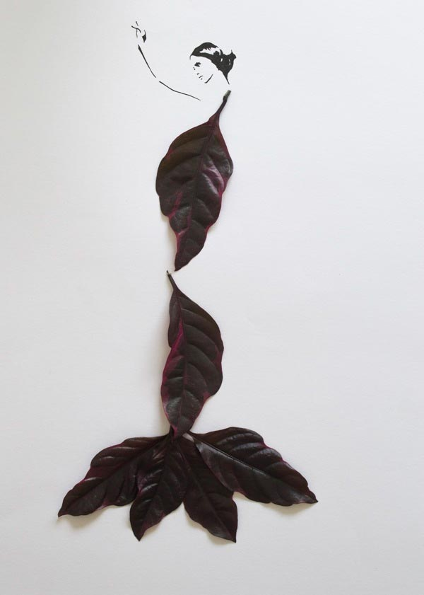 Fashion in Leaves, Creative Leaf Art by Tang Chiew Lin from Malaysia