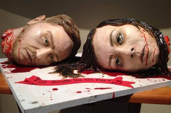 Couple create gruesome wedding cake made of their own bloody severed heads