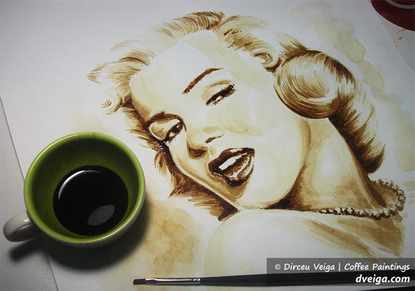 Marylin Monroe Coffee Paint by Dirceu Vegia