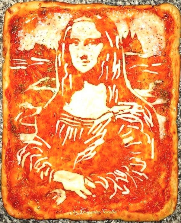 Mona Lisa Portra Recreated on Pizza using Cheese & Tomato Sauce