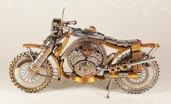 Miniature Motorcycles Made From Watches