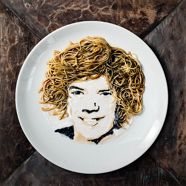 Noodle Doodle: Celebrity Portraits Made From Noodles & Soy Sauce