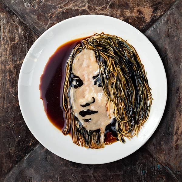 Celebrity Portraits Made From Noodles & Soy Sauce