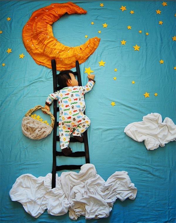 Creative Sleeping Baby Photos by Mother Queenie Liao
