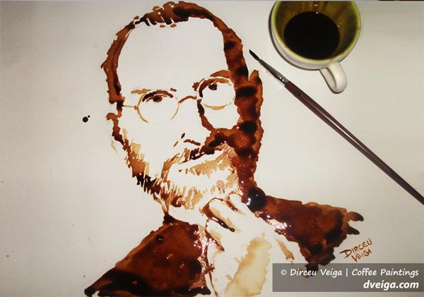Steve Jobs Coffee Paint by Dirceu Vegia