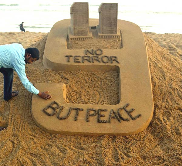 World Trade Center Sand Sculpture by Sudarshan Pattnaik