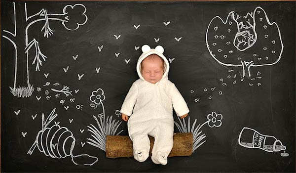 Mother Creates Baby's Adorable Blackboard Adventures