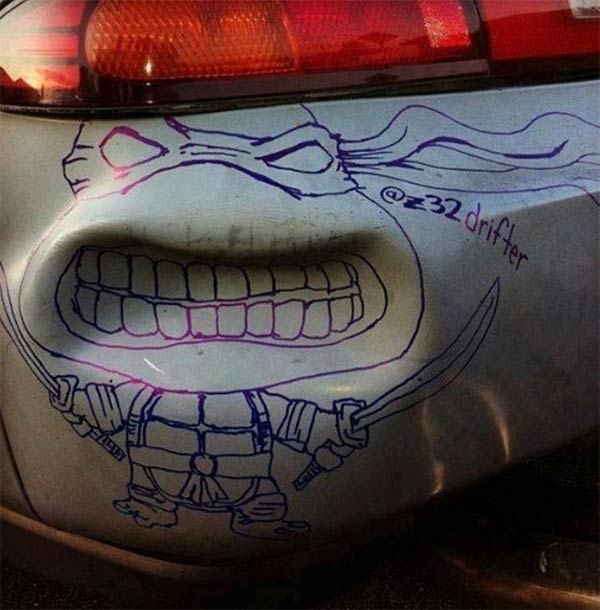Car Dent Turned into Ninja Turtle