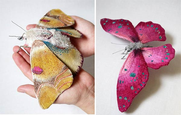 Embroidered Butterfly Sculptures