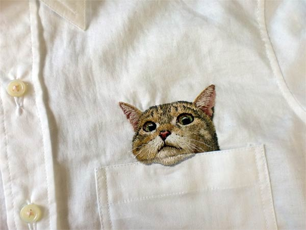 Cute Embroidered Cat Shirts