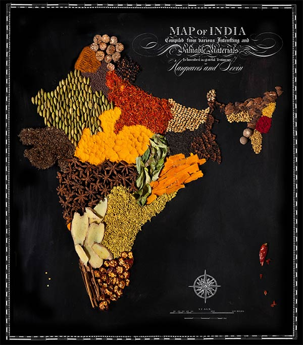 Maps of Countries Made Out of Real Food