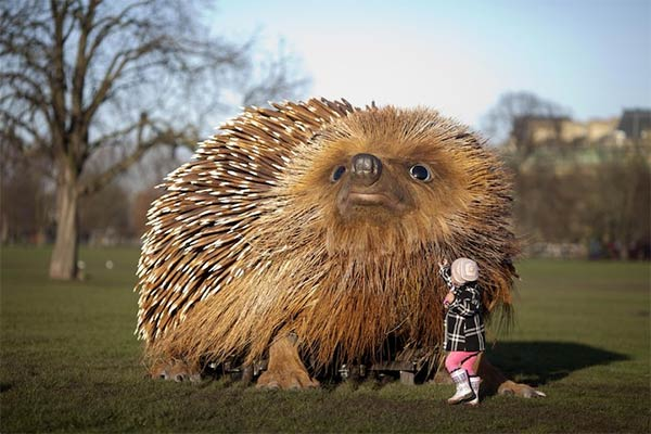 Lifelike Sculpture of a Giant Hedgehog Installed in a London Park