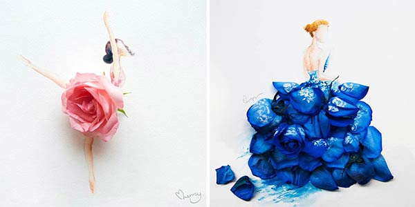 Artist makes lovely illustrations using flowers