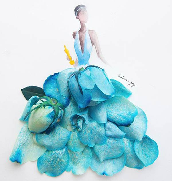 Beautiful Illustrations by Lim Zhi Wei Using Real Flower Petals