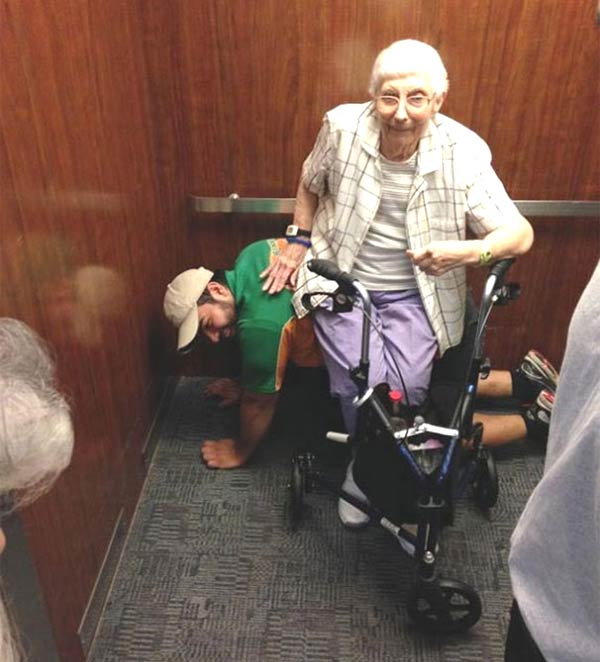 Man Served As Human Chair For Elderly Woman Stuck in Elevator