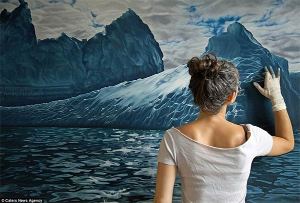 Photo-realistic Icebergs Painting by Zaria Forman