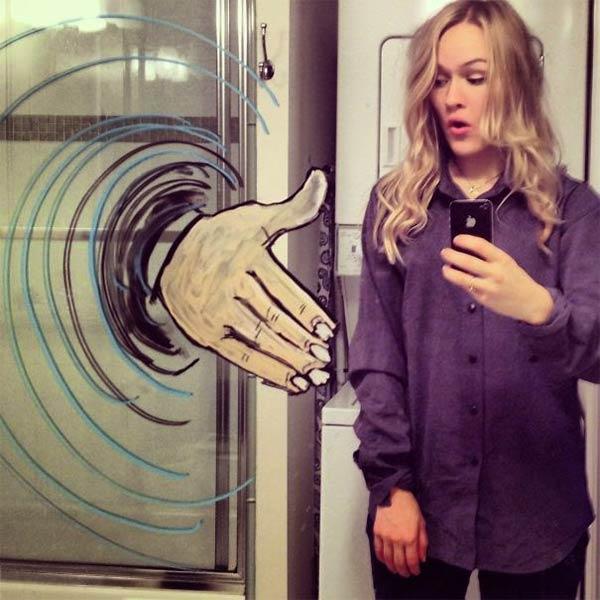 Funny Selfies with Creative Drawings on Bathroom Mirror
