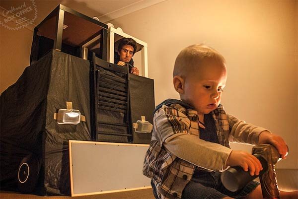 Parents Recreate Famous Film Scenes with Cardboard Box
