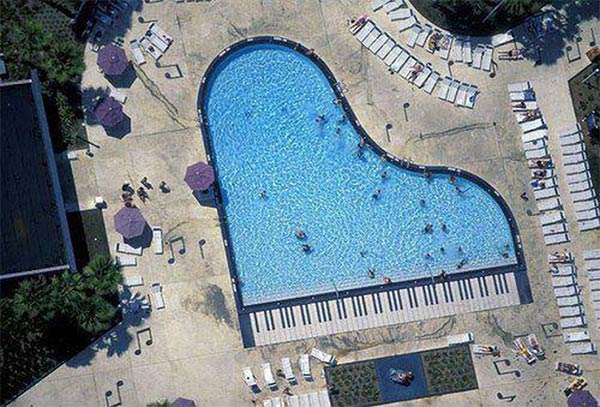 Piano-Shaped Swimming Pool