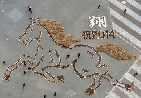 Horse Made Up From 30,000 Pine Cones