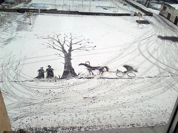 Snow Art with Broom