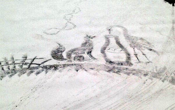 School Groundskeeper Creates Snow Art with Broom