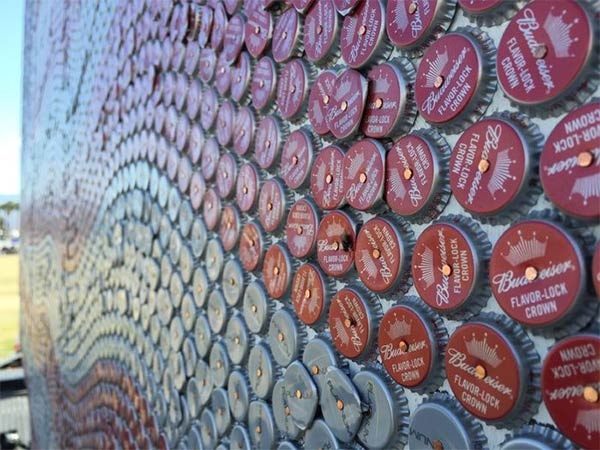 American Flag Made From Bottle Caps