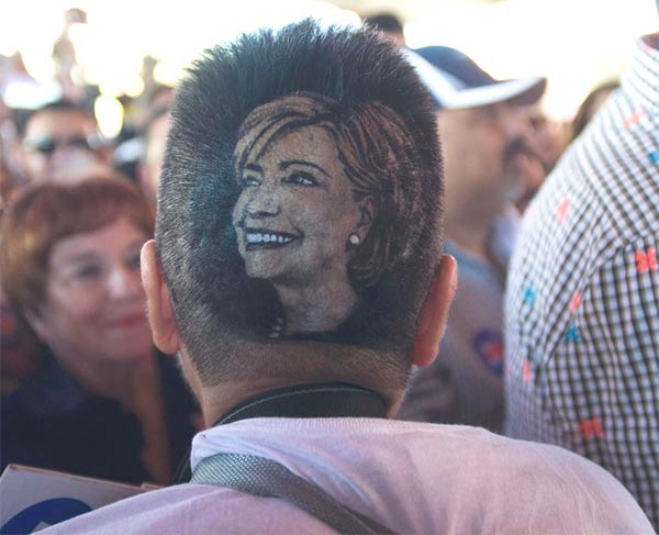 Hillary Clinton supporter gets portrait shaved into her head