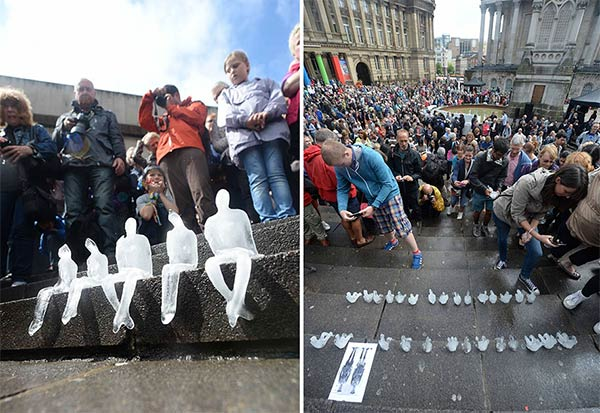 5,000 Melting Ice Sculptures In Birmingham Commemorate Victims Of WWI