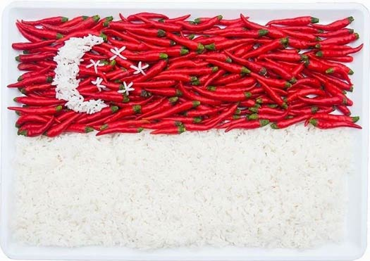 Singapore Flag Formed with Red Chilli & White Rice