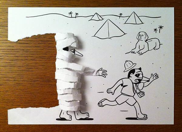 Hilariously Creative Paper Drawings By Husk Mit Navn