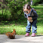 Cute Child Looks At Squirrel with Curiosity