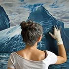 Photorealistic art of sea and ice created by artist Zaria Forman with her Fingers