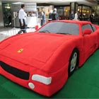 Life Size Knitted Ferrari Made with 12 Miles of Yarn