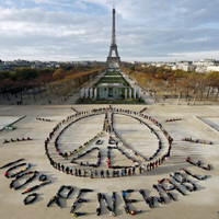 Environmentalists Forming Peace & Hope Symbol